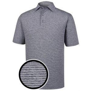 FootJoy Heather Pinstripe Lisle Self Collar Golf Polo Shirt Navy/White