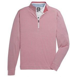 FootJoy Houndstooth Jaquard Quarter-Zip Golf Pullover Cape Red/White 25180