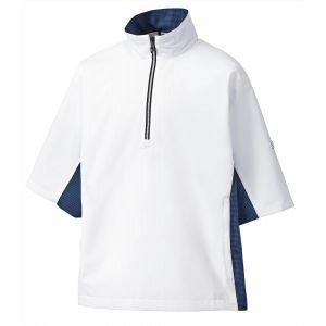 FootJoy Hydrolite Short Sleeve Golf Rain Shirt White Royal/Black Houndstooth - 23777