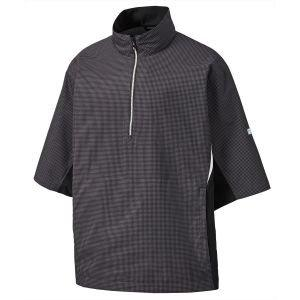 FootJoy Hydrolite Short Sleeve Golf Rain Shirt Charcoal/Black Houndstooth - 23778