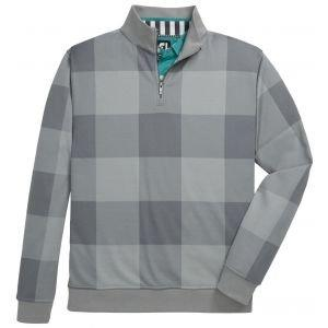 FootJoy Jersey Fleece Quarter-Zip Golf Pullover Heather Grey Tonal Plaid 25139