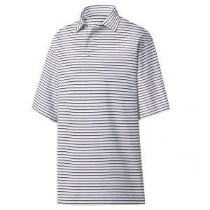 FootJoy Jersey Jacquard Stripe Self Collar Golf Polo - White/Black/Lavender 26388