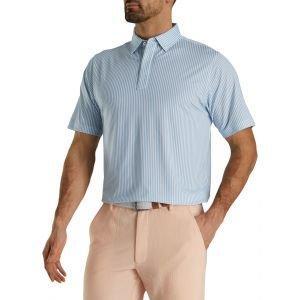FootJoy Limited Edition Lisle Stripe Self Collar Golf Polo Light Blue/White 29554