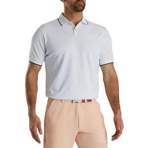 FootJoy Limited Edition Pique Solid Knit Collar Golf Polo White 29552