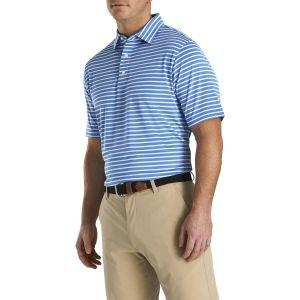 FootJoy Lisle 2-Color Stripe Self Collar Golf Polo White/Light Pink 26539