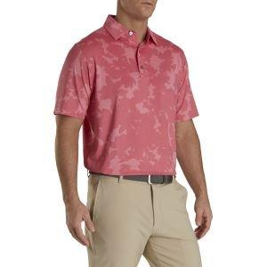 FootJoy Lisle Camo Floral Print Self Collar Golf Polo Cape Red 26590