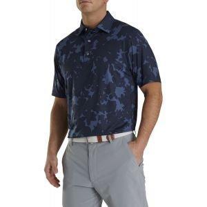 FootJoy Lisle Camo Floral Print Self Collar Golf Polo Navy 26591