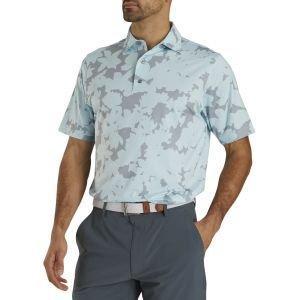 FootJoy Lisle Camo Floral Print Self Collar Golf Polo Ice Blue 26592