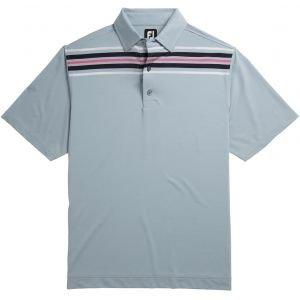 FootJoy Lisle Chest Stripe Self Collar Golf Polo Shirt Blue Fog