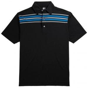 FootJoy Lisle Chest Stripe Self Collar Golf Polo - Black 26185