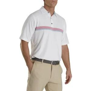 FootJoy Lisle Chestband Self Collar Golf Polo - White/Cape Red/Storm Blue 26585 - WHT/CAP RED/BLU - XXL