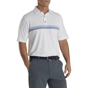 FootJoy Lisle Chestband Self Collar Golf Polo White/Lagoon/Navy 26586