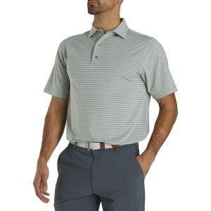 FootJoy Lisle Classic Stripe Self Collar Golf Polo Heather Grey 26563