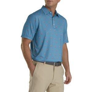 FootJoy Lisle Cocktail Print Self Collar Golf Polo Storm Blue 26599