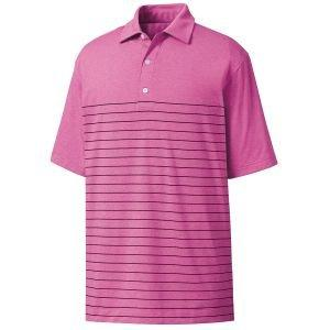 FootJoy Heather Lisle Engineered Pinstripe Self Collar Golf Polo Berry/Navy 26189