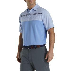 FootJoy Lisle Engineered Pinstripe Self Collar Golf Polo Lagoon/White/Navy 26569