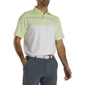 FootJoy Lisle Engineered Pinstripe Self Collar Golf Polo White/Lime/Grey 26570