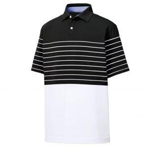 FootJoy Lisle Engineered Stripe Self Collar Golf Polo - Black/White 26392