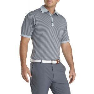 FootJoy Lisle Feeder Solid Trim Self Collar Golf Polo Heather Grey/Charcoal 26372