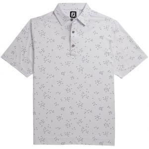 FootJoy Flock Of Birds Print Self Collar Golf Polo - White/Grey 26209