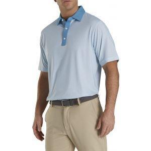 FootJoy Lisle Foulard Print Self Collar Golf Polo Storm Blue/White 26588