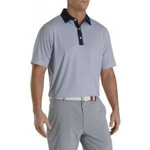 FootJoy Lisle Fouldard Print Self Collar Golf Polo Navy/White 26589