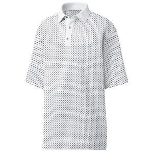 FootJoy Lisle Mini Paisley Self Collar Golf Polo White 26383