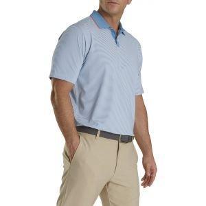 FootJoy Lisle Ministripe Knit Collar Golf Polo Blue/White 26549
