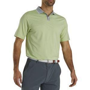 FootJoy Lisle Ministripe Knit Collar Golf Polo Grey/Lime 26551