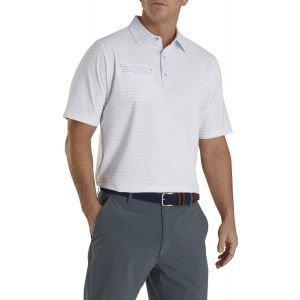 FootJoy Lisle Mixed Pinstripe Self Collar Golf Polo White/Lagoon 26609