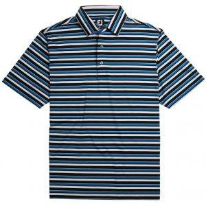 FootJoy Lisle Multi Stripe Self Collar Golf Polo Black/Royal/White/Grey Heather 26200