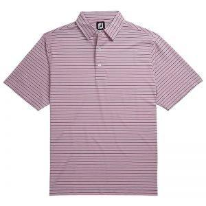 FootJoy Lisle Multi Stripe Self Collar Golf Polo Berry/Navy/White 26222