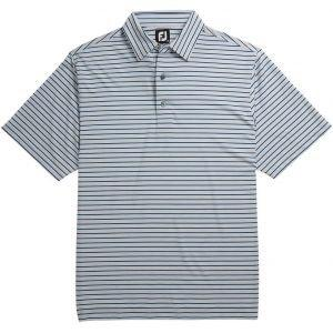 FootJoy Lisle Multi Stripe Self Collar Golf Polo Heather Grey/Royal/Black/White 26223