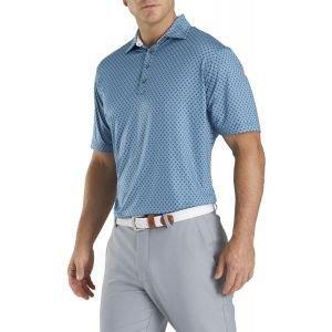 FootJoy Lisle Palm Print Self Collar Golf Polo Blue Grey/Black 26368