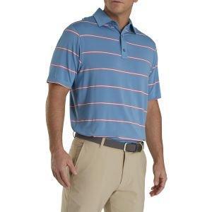 FootJoy Lisle Pique Open Stripe Self Collar Golf Polo Storm Blue 26605