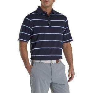 FootJoy Lisle Pique Open Stripe Self Collar Golf Polo Navy 26606