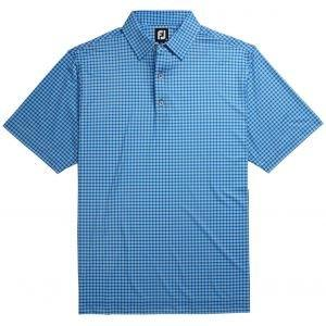 FootJoy Lisle Plaid Print Self Collar Golf Polo Royal 26169