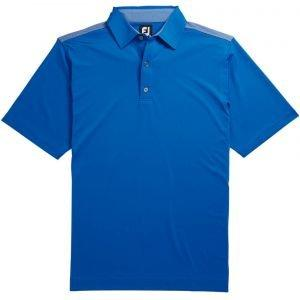 FootJoy Lisle Solid 4 Dot Jackquard Yoke Self Collar Golf Polo Royal/White 26220