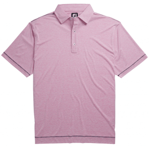 FootJoy Lisle Space Dye Microstripe Self Collar Golf Polo Ice Berry/White