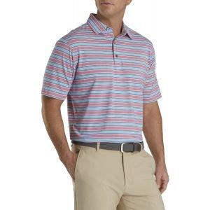 FootJoy Lisle Traditional Stripe Self Collar Golf Polo Cape Red/Storm/White 26594