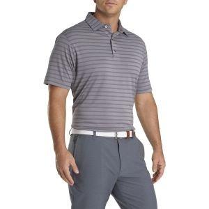 FootJoy Nailhead Jacquard Stripe Self Collar Golf Polo Charcoal/White 26358