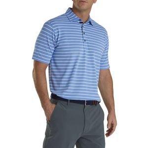 FootJoy Pique Mixed Stripe Self Collar Golf Polo Lagoon/White 26582