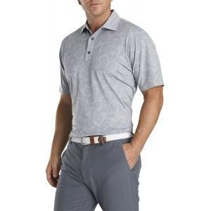 FootJoy Pique Tonal Paisley Self Collar Golf Polo Heather Grey 26361