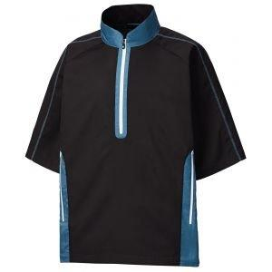FootJoy Short Sleeve Sport Golf Windshirt Black/Petrol Blue - 32654