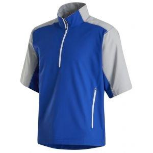 FootJoy Short Sleeve Sport Windshirt Golf Pullover Royal/Silver 32670