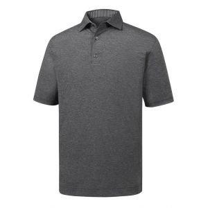 FootJoy Solid Lisle Self Collar Golf Polo Heather Charcoal