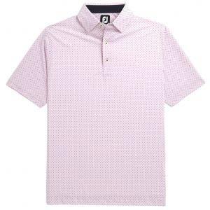 FootJoy Stretch Lisle Dot Print Self Collar Golf Polo - Pink 26410