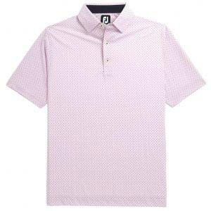 FootJoy Stretch Lisle Dot Print Self Collar Golf Polo Pink 26410
