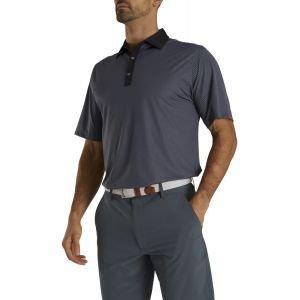 FootJoy Stretch Lisle Mini Check Print Golf Polo Black/Slate 26629