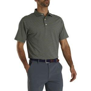 FootJoy Stretch Lisle Pinestripe Golf Polo Navy/Lime/White 26621